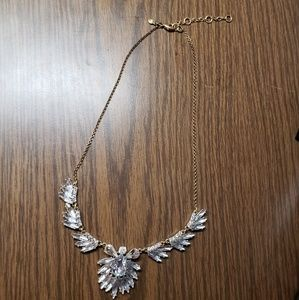J.crew gold toned angel wing faux diamond necklace